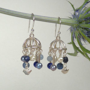 Blue stone chandelier earrings