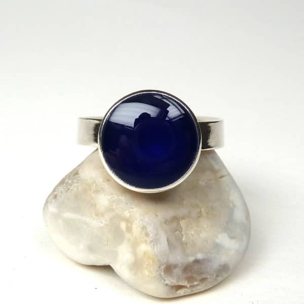 Cobalt blue and silver ring.