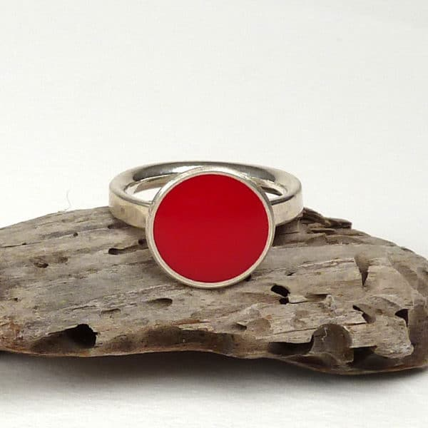 Red enamel and silver ring