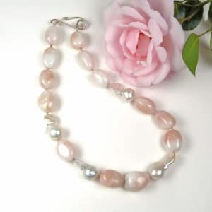 Morganite and pearl pastel pink necklace