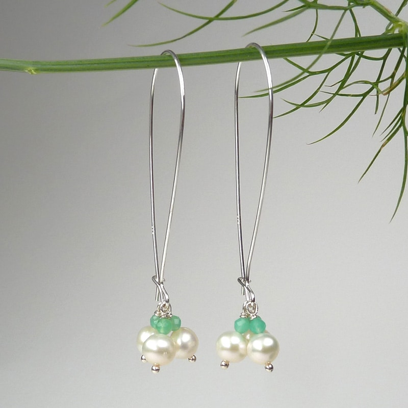 Pearl and chrysoprase earrings