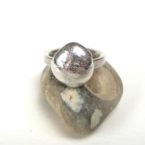 Sterling silver pebble ring.