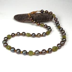 Bronze pearl and olive green gemstone necklace