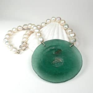 Pearl and ancient glass disc necklace