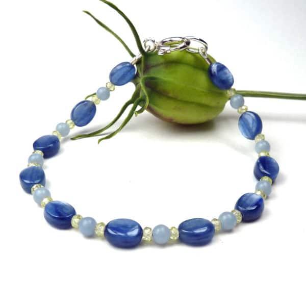 Denim-blue gemstone bracelet.