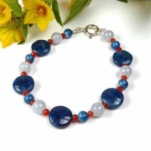 Blue and orange gemstone bracelet.