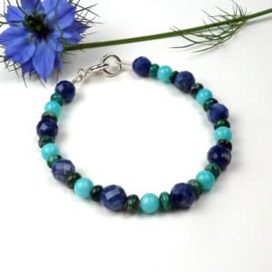 Turquoise and blue gemstone bracelet