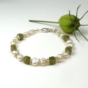 Olive green and pearl bracelet.