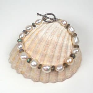 Pearl and labradorite bracelet.