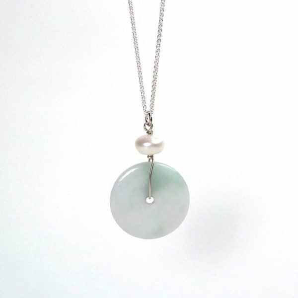 Jade and pearl pendant