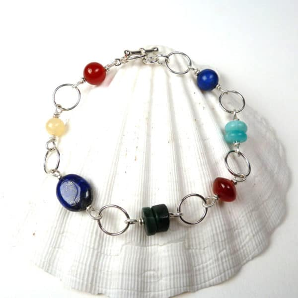 Gemstone and silver hoop bracelet