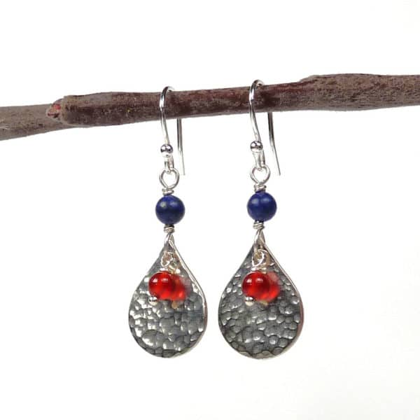 Carnelian, lapis and silver earrings
