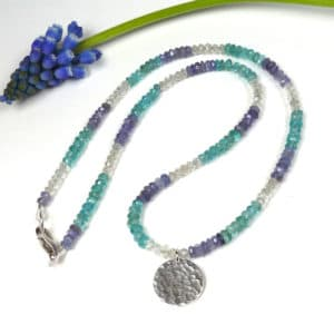 Blue gemstone and silver necklace