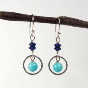 Shades of blue drop earrings