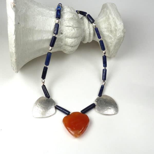 Carnelian, lapis lazuli and carnelian necklace.