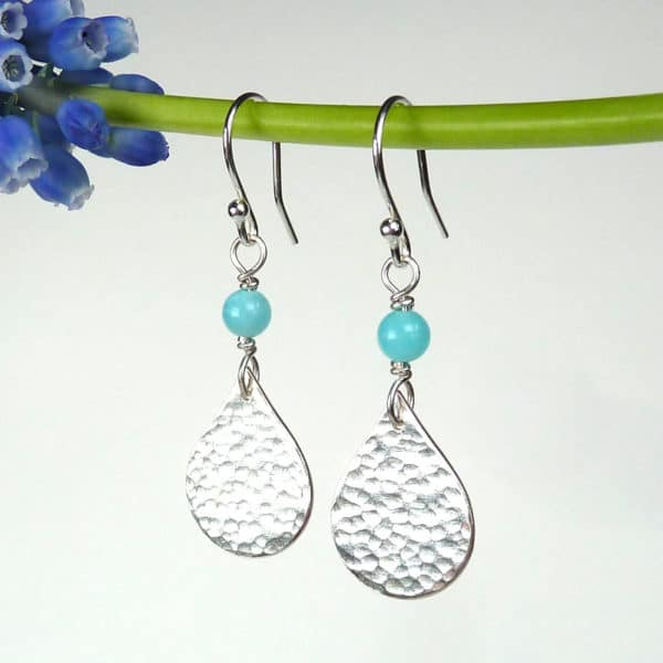 Amazonite and hammered silver earrings