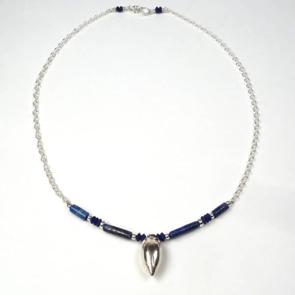Silver and lapis lazuli necklace.