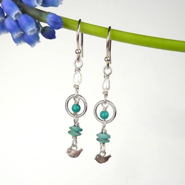 Turquoise and pearl dainty drop earrings