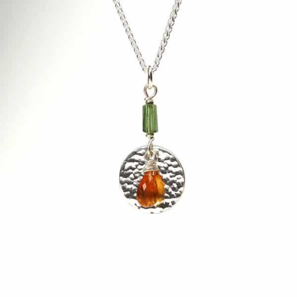 Citrine and green tourmaline pendant