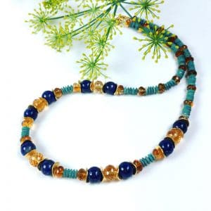 Lapis, citrine and turquoise necklace