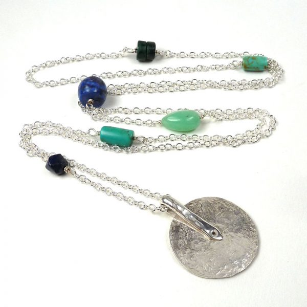 Long silver and gemstones necklace