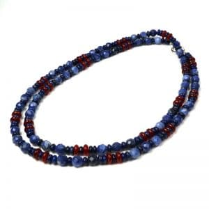 Long denim-blue necklace
