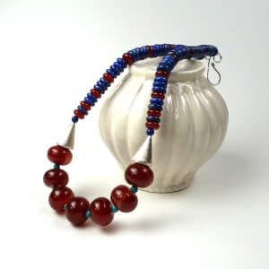 Carnelian and lapis necklace