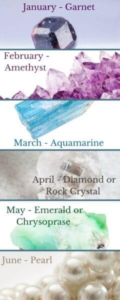 Birthstones January - June