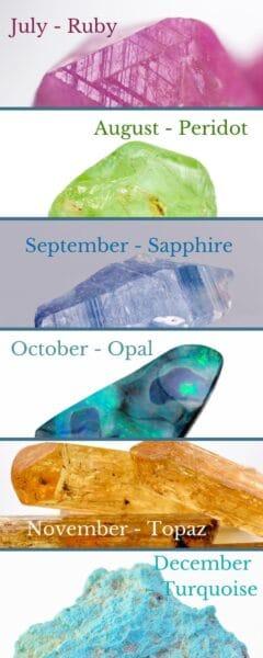 Birthstones July - December