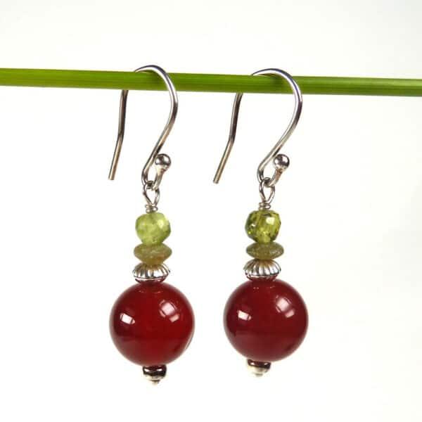 Carnelian and peridot earrings