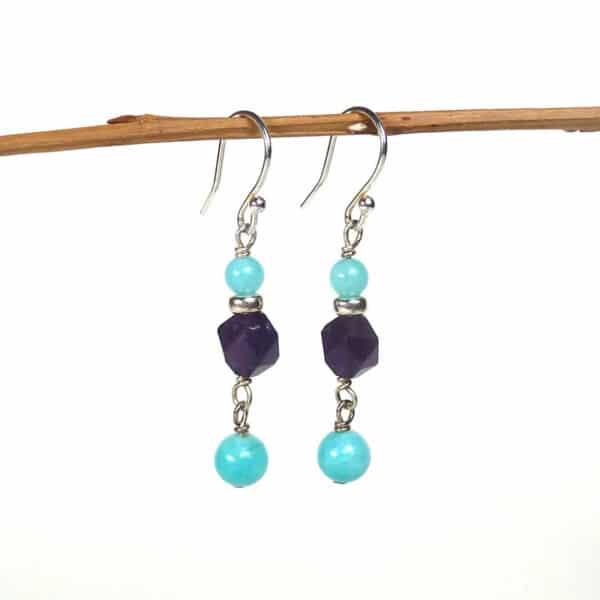 Amethyst and amazonite earrings