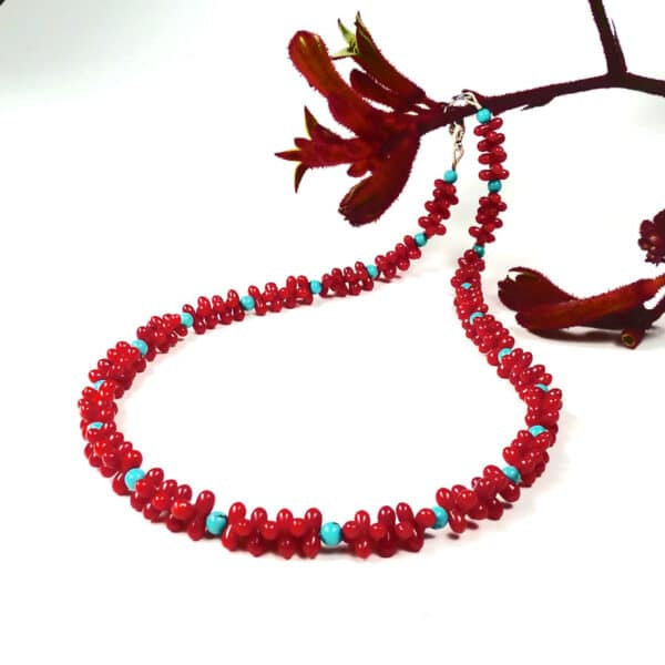 Red coral and turquoise necklace