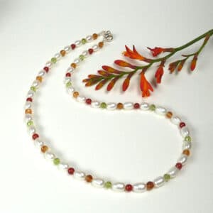 Pearl and colourful gemstone necklace