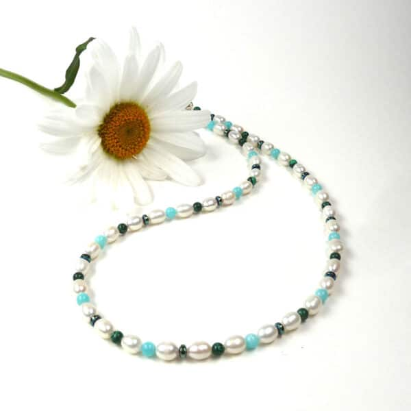 Pearl and blue-green gemstone necklace