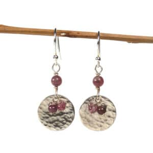 Silver and rubellite earrings