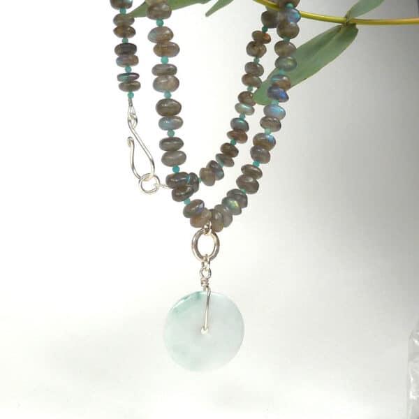 Labradorite and jade necklace