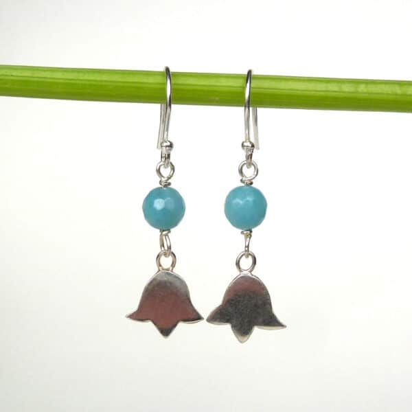 Silver flower and amazonite earrings