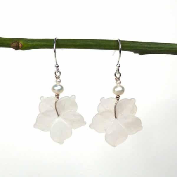 White flower earrings