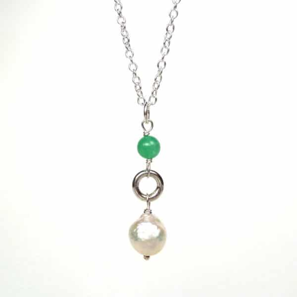 Pearl and chrysoprase pendant
