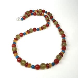 Apatite, citrine and carnelian necklace
